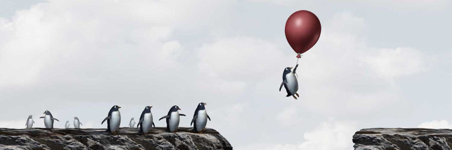 Free report - 5 actions every new sales leader must take in the first 30 days (illustration of penguin with balloon avoiding sharks in the water)
